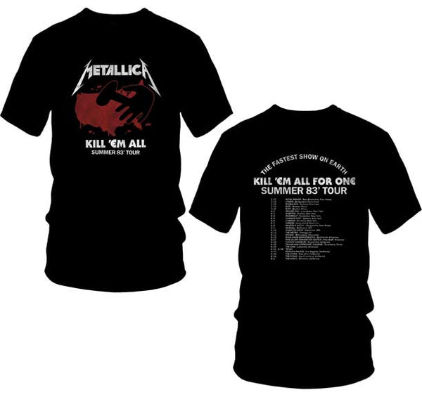 Metallica Kill Em All 1983 North America summer tour t-shirt is available at Rocker Tee