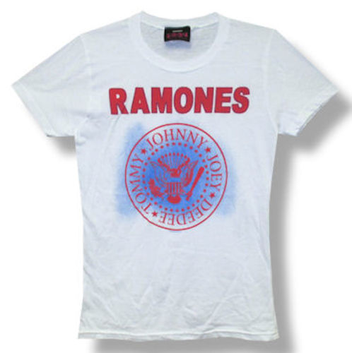 Ramones Red Blue Classic Seal Logo Girls T-Shirt is available at Rocker Tee
