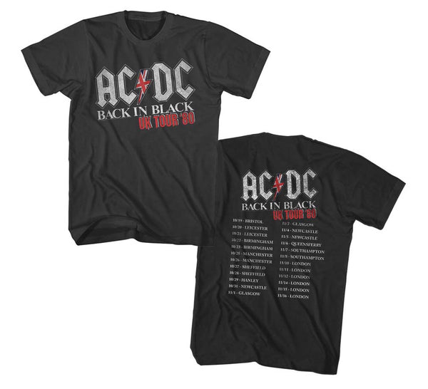 AC/DC Back in Black 1980 UK Tour t-shirt is available at Rocker Tee