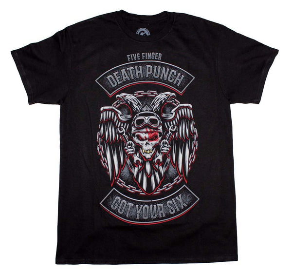Five Finger Death Punch Biker Badge t-shirt is available at rockerteeshirts.com