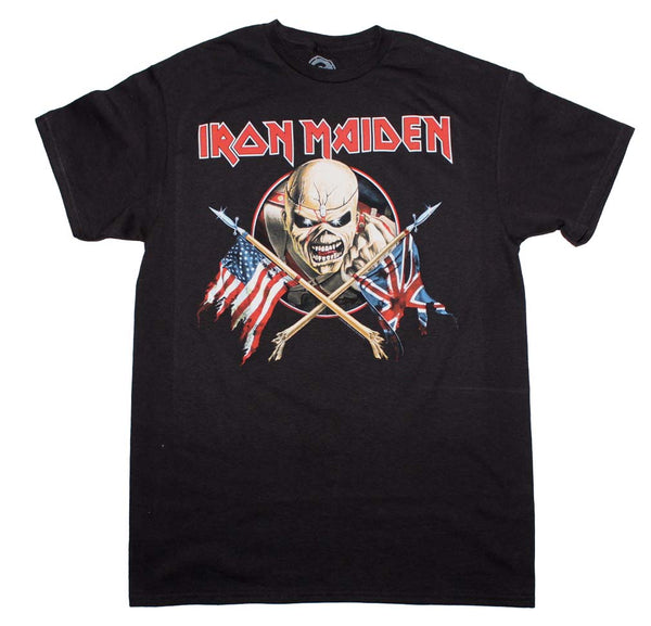 Iron Maiden Crossed Flags Tee is available at rockerteeshirts.com