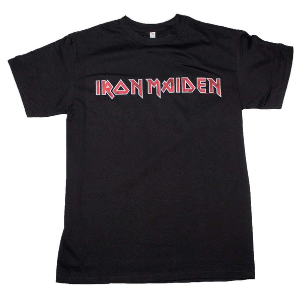 Iron Maiden distressed logo t-shirt is available at Rocker Tee