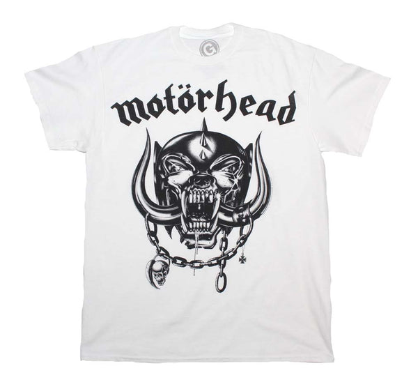 Motorhead Flat War Pig White T-Shirt is available at rockerteeshirts.com