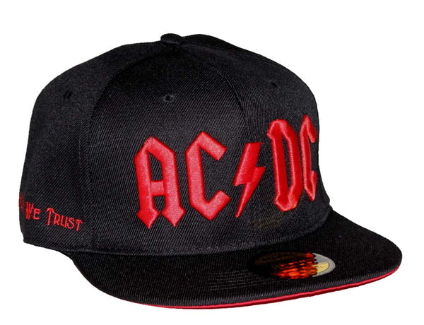 AC/DC Red Logo Flat Bill Snapback Hat is available at Rocker Tee
