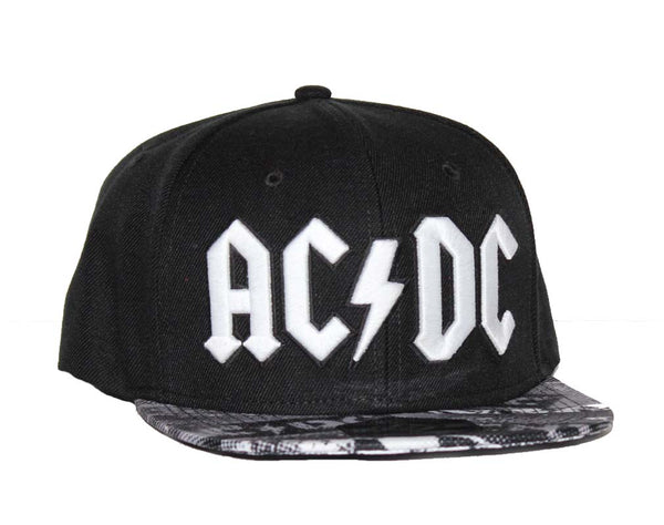 AC/DC black wool blend flat bill visor hat is available at Rocker Tee.