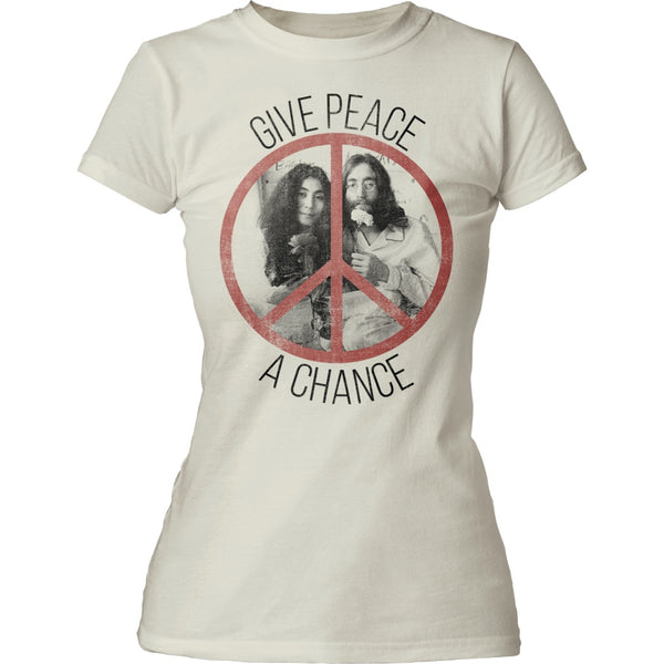 John Lennon Give Peace a Chance Juniors Tee is available at Rocker Tee.