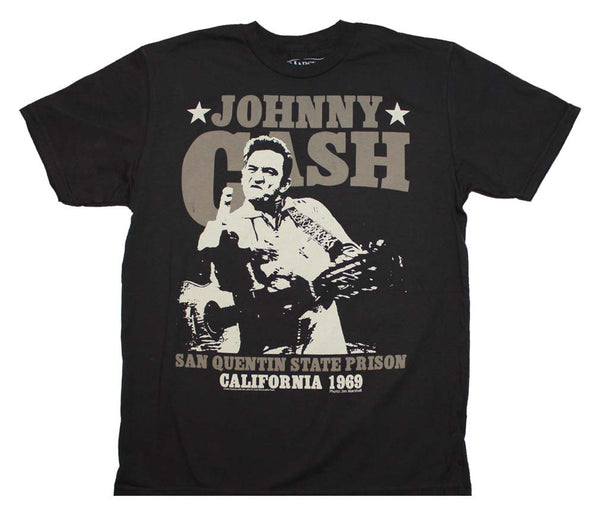 Johnny Cash T-Shirt Featuring The Iconic San Quentin Finger