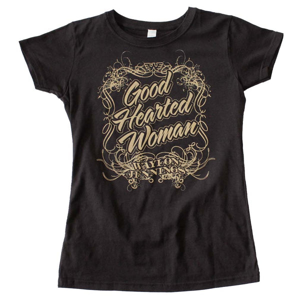 Waylon Jennings Good Hearted Woman juniors t-shirt is available at Rocker Tee