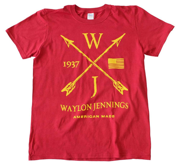 Waylon Jennings Arrows Red T-Shirt is available at Rocker Tee.