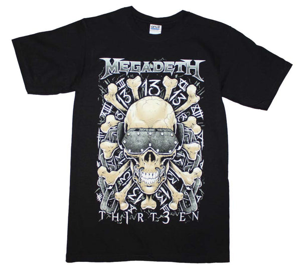 Megadeth t-shirt featuring skull and bones artwork printed on the front is available at Rocker Tee.