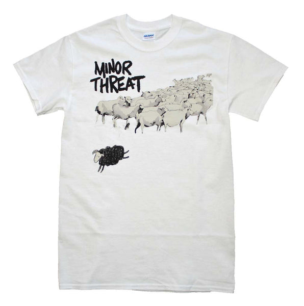 Minor Threat T-Shirt Featuring The Black Sheep Out Of Step. A really nice punk rock band t-shirt and it will make a nice addition to anyone's punk rock music memorabilia collection