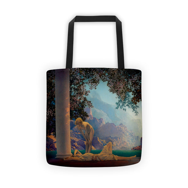 Maxfield Parrish Tote bag Featuring Daybreak. This is a beautiful bag to carry your band t-shirts in.