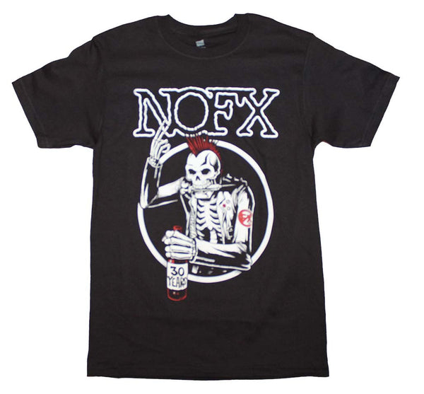 NOFX T-Shirt Featuring The Old Mohawked Skeleton Logo