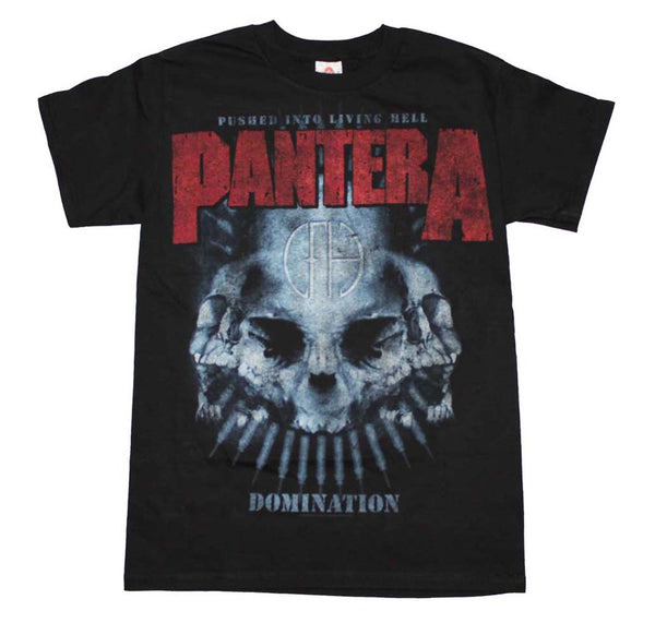 Pantera T-Shirt Featuring The Domination Skull Distressed Print is available at rockerteeshirts.com