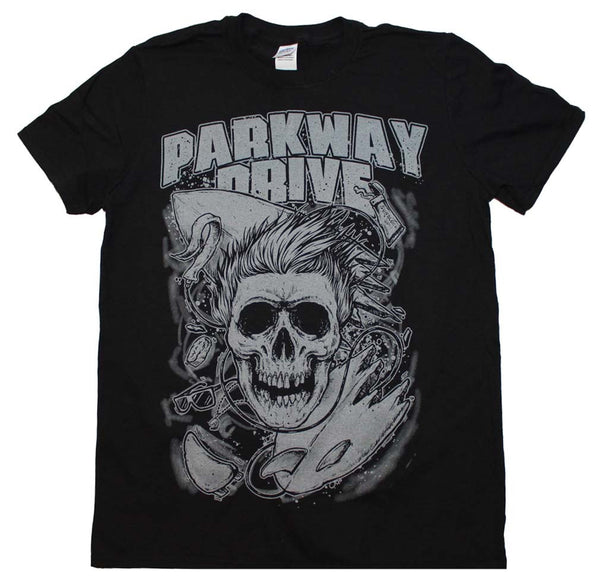 Parkway Drive T-Shirt Featuring The Surfer Skull. Totally Gnarly Rock Music Memorabilia Dude