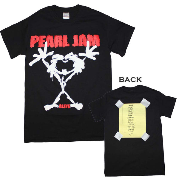 Pearl Jam T-Shirt Featuring Stickman Alive. A great piece of Pearl Jam music memorabilia.