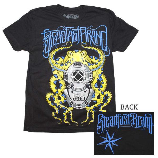 Steadfast Brand T-Shirt Featuring Octopus Art.