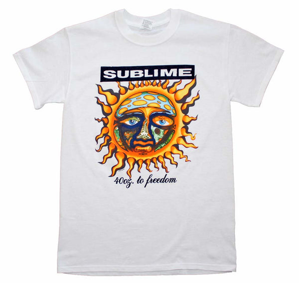 Sublime T-Shirt Featuring The 40 oz to Freedom Sun Logo.  Music Memorabilia Fans Will Love This Rock T-Shirt