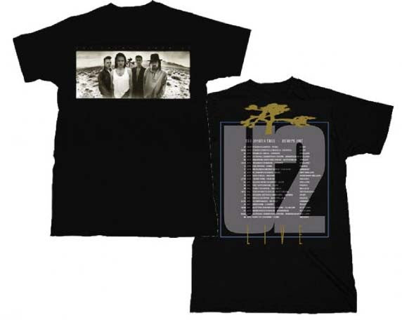U2 T-Shirt Featuring The Joshua Tree European Tour. A Beautiful Piece Of Music Memorabilia Concert T-Shirt
