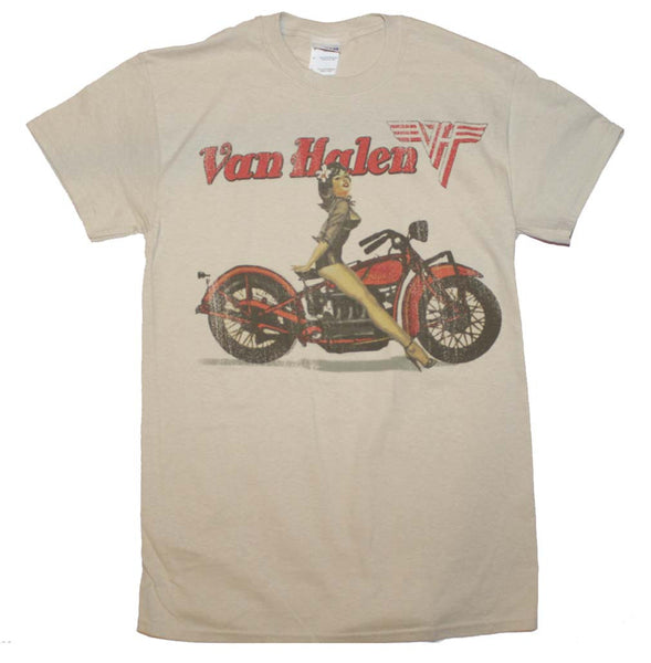 Officially Licensed Van Halen Sexy Biker Pinup T-Shirt is available at Rocker Tee.