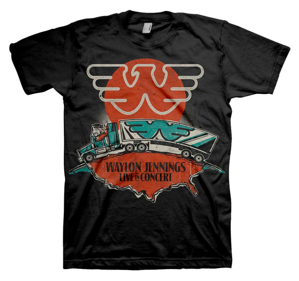 Waylon Jennings Live In Concert T-Shirt is available at Rocker Tee