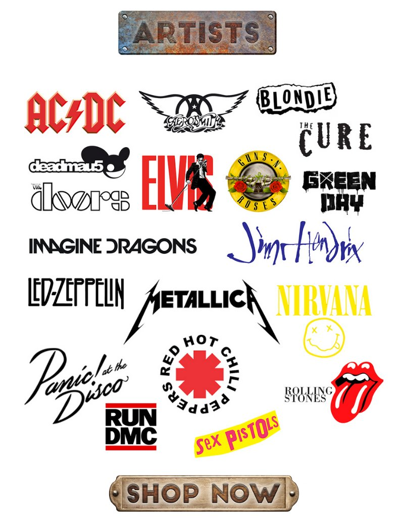 Rock t-shirts, music memorabilia
