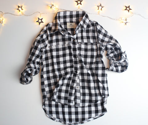 Plaid Unbalanced Black Shirt