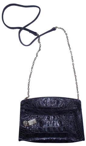 Mini Crossbody de Cuero en Relieve de Cocodrilo
