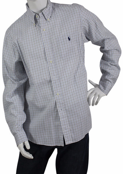 "Camisa Blanca de Cuadros Color Azul y Negro ""Custom Fit"" (US 42-16 1/2)"