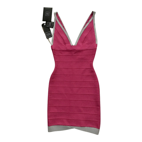 Vestido Stretch Fucsia con Bordes Grises (US. XS)