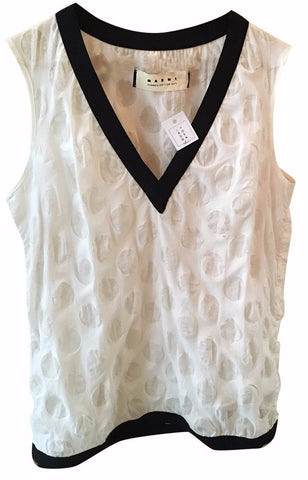 Camisa Sin Mangas Blanca con Bordes Negros, (US., M/ IT. 40)