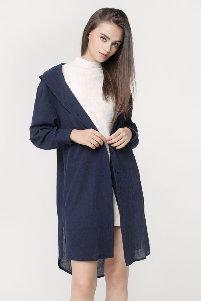 Crepe Hooded Shirtdress