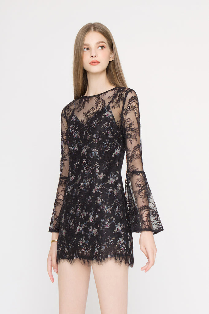 *Backorder* Lace Floral Bell Sleeves Dress