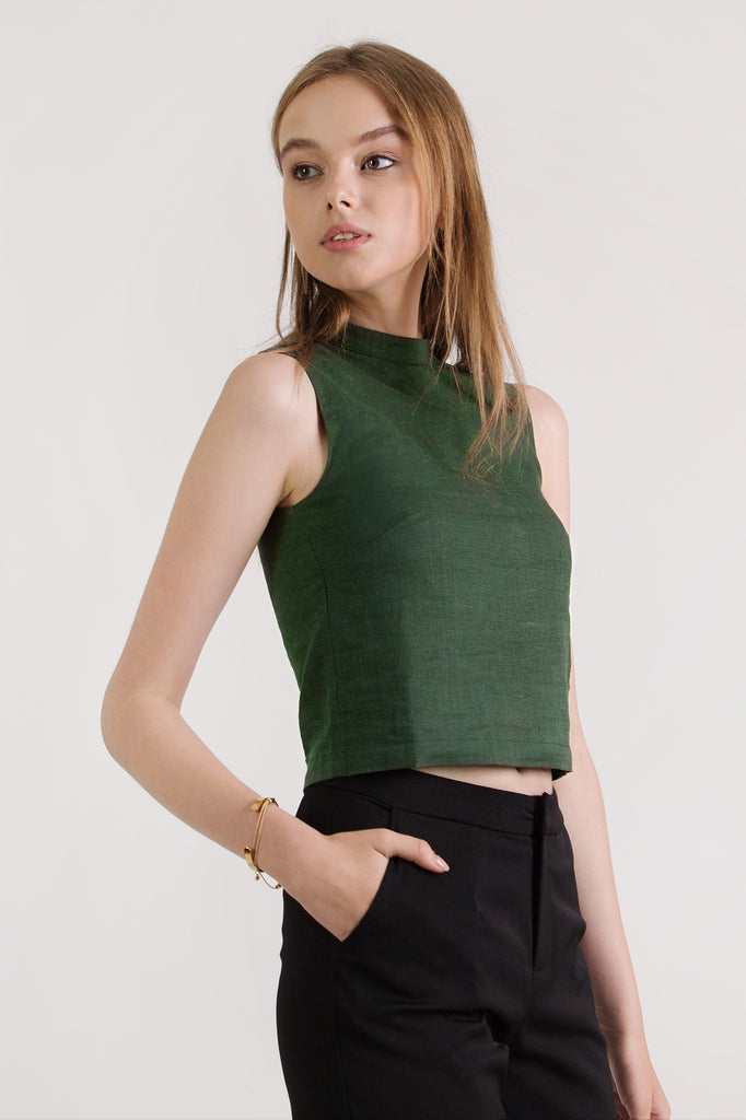V Back Crop Top