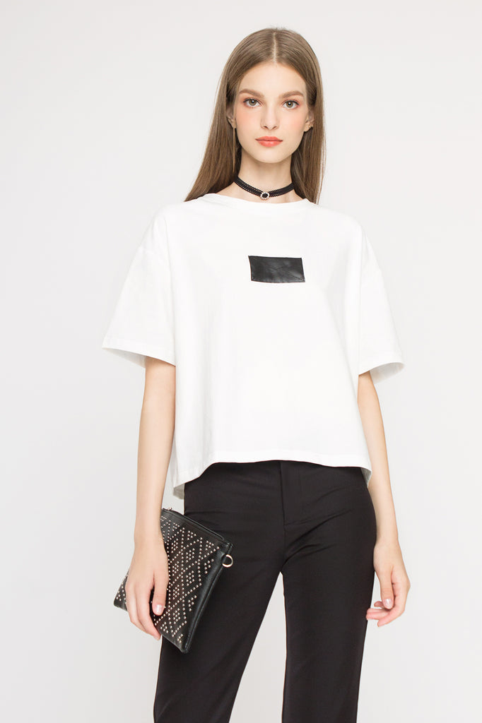 Leather Panel Boxy Tee