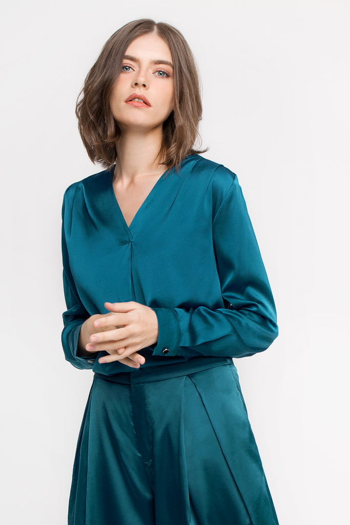 Satin V Neck Blouse