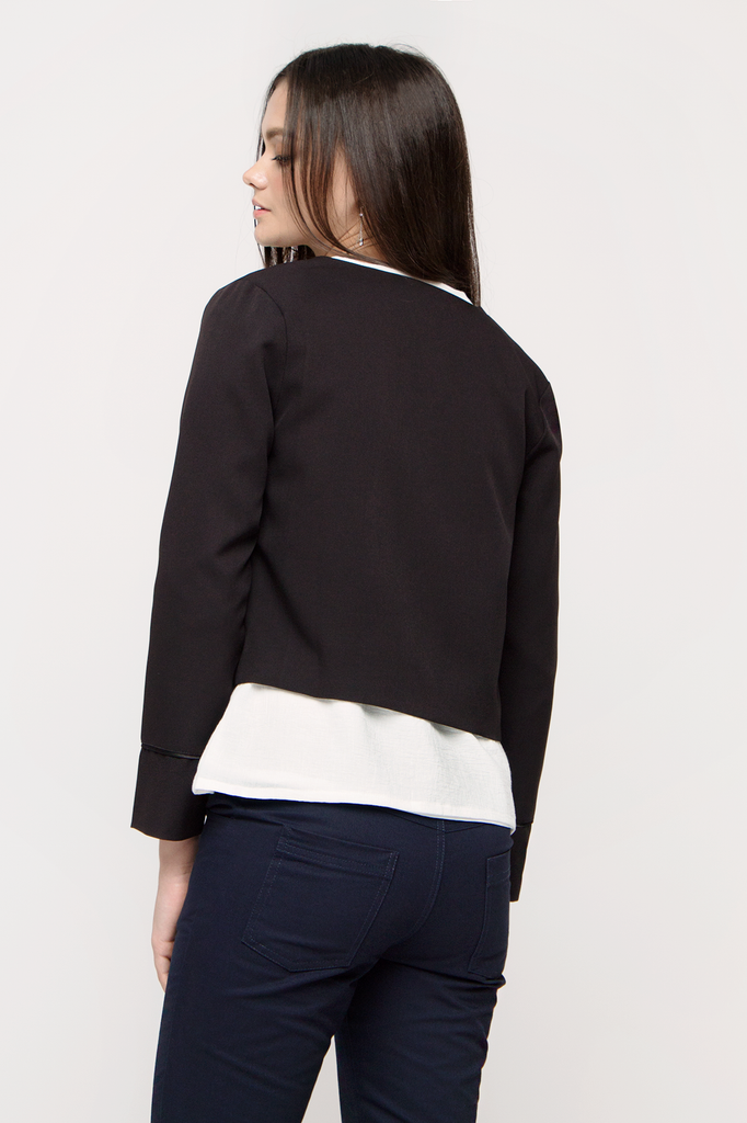 Cropped Piping Blazer