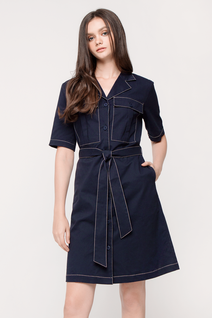Contrast Thread Coatdress