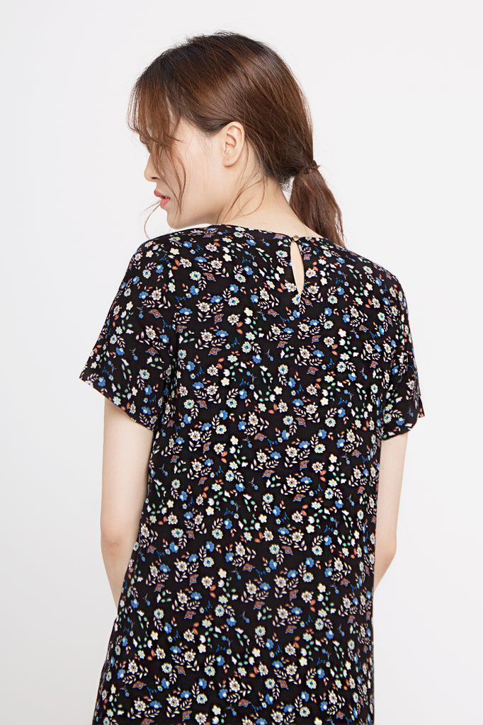Floral Drop Hem Dress