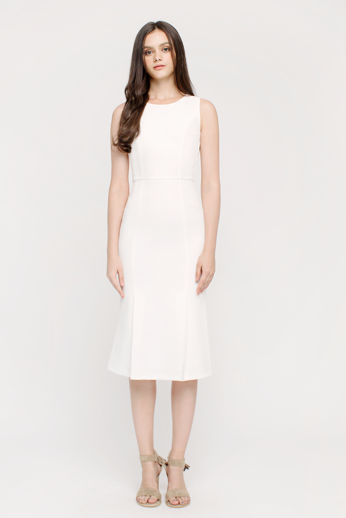 Slit Fluted Hem Dress