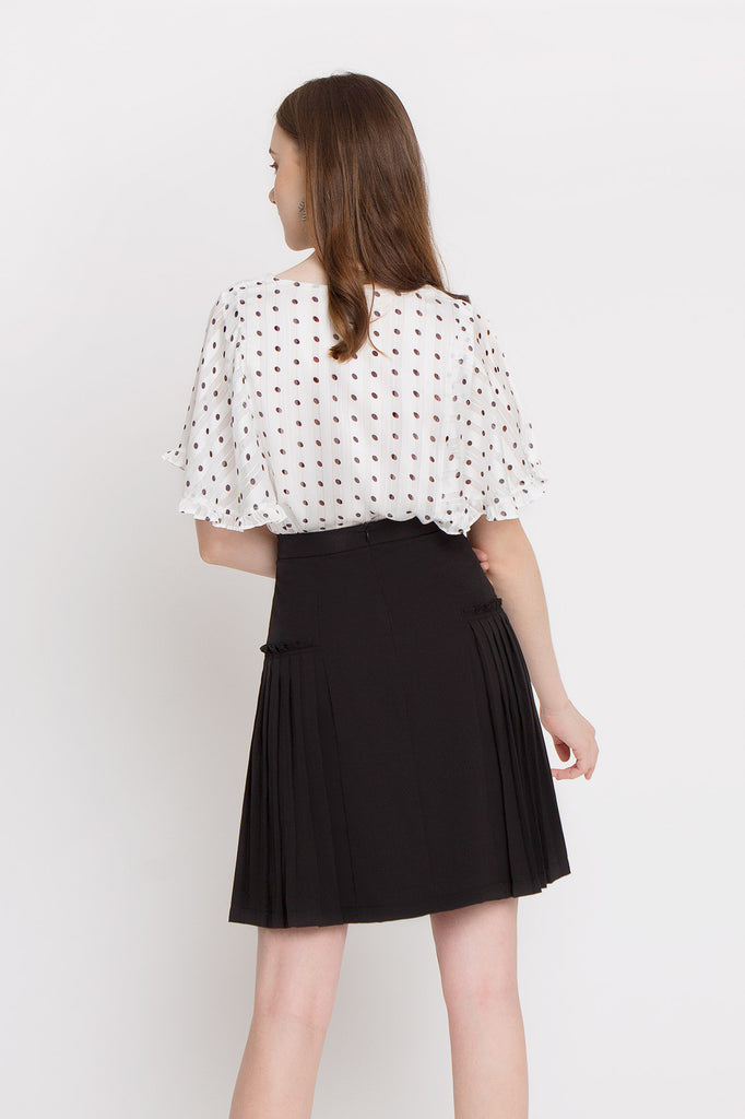 Polka Ruffled Cape Blouse