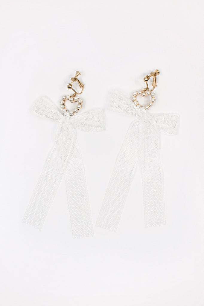 Heart Lace Ribbon Earrings
