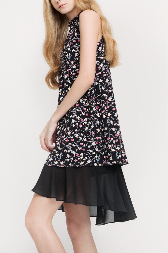 Floral Ruffled Collar Dress