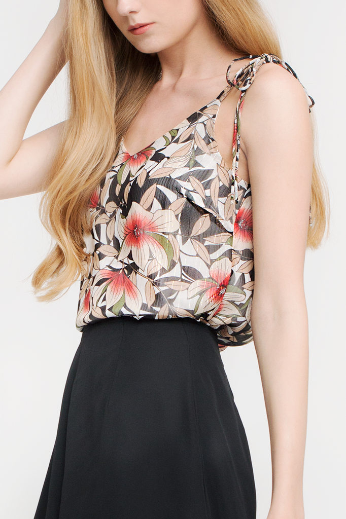 Floral Ribbon-tie Camisole