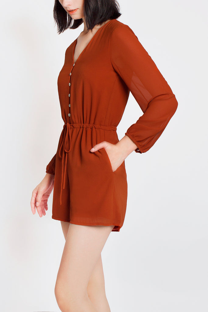 Button Drawstring Romper