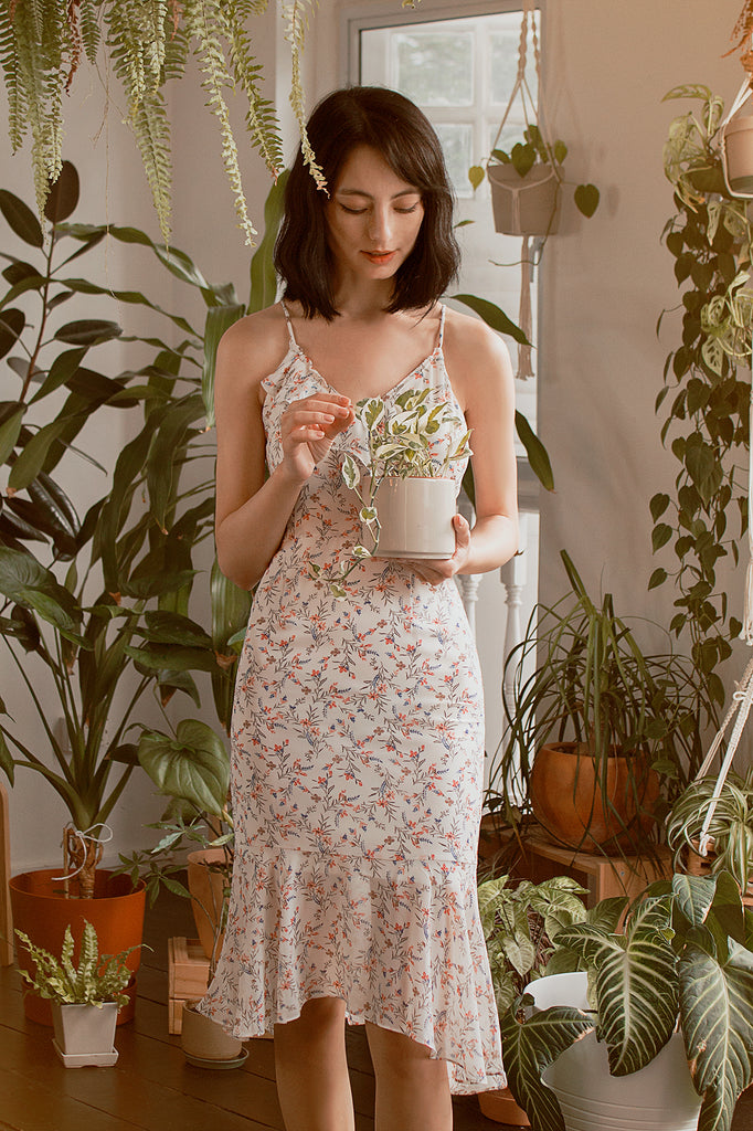 Ruffled Floral Mermaid Midi Dress