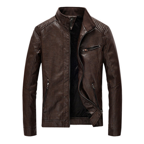 Mens Stand Collar Vegan Leather Biker Jacket