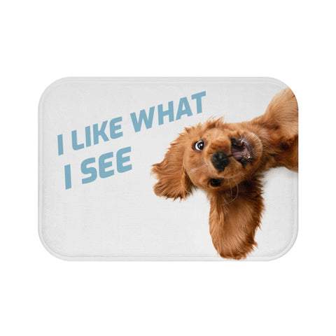 Funny Dog Looking Up Bath Mat