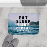 Eat, Sleep, Surf and Repeat Bath Mat