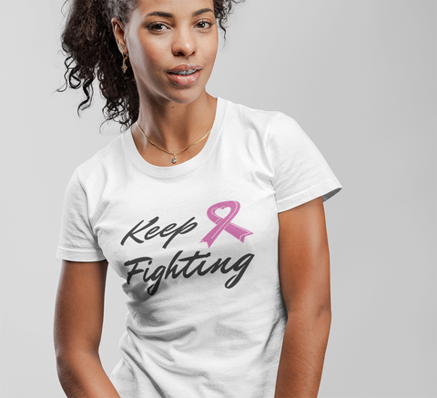 Keep Fighting Pink Ribbon Theme Awareness T-Shirt